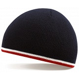 Beechfield French Navy / White / Red Stripe Winter Beanie Cap