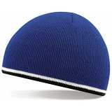 Beechfield Royal Blue / White / Black Stripe Winter Beanie Cap