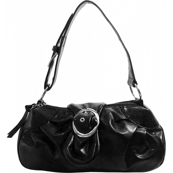 Black faux leather shoulderbag 9fVge