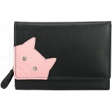 Ciccia Cheeky Cat Face Medium Leather Tri-Fold Purse / Wallet