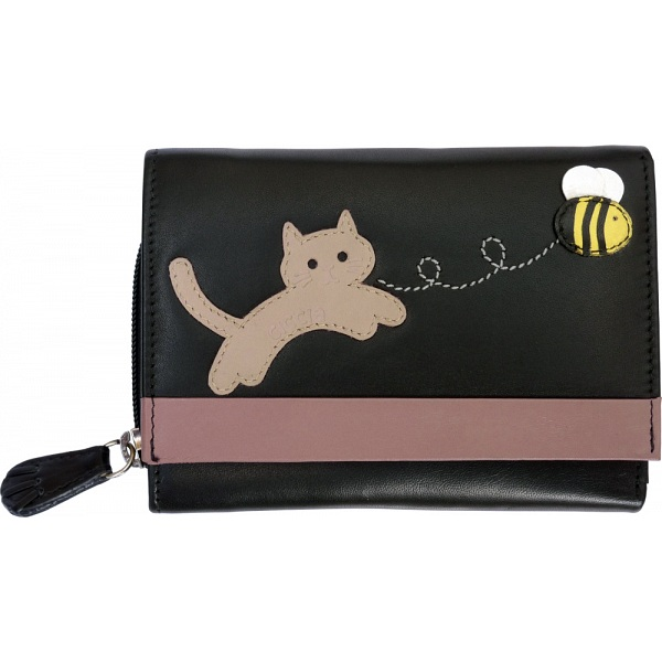 Ciccia Cat Chasing Buzzy Bee Medium Leather Tri Fold Purse