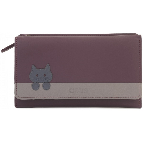 ae49c06124 Ciccia Off The Wall Large Leather Tri-Fold Cat Face Purse / Wallet