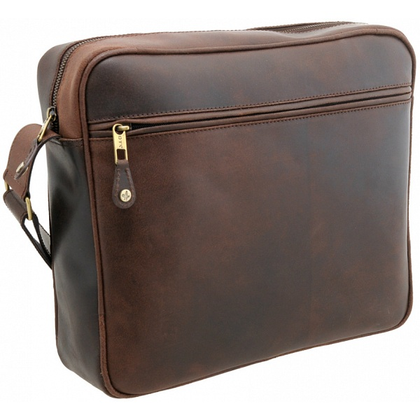 Detour Zip Top Leather Messenger Bag (Brown)