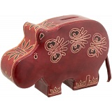 Harness Hand Painted Leather Hippo Money Box