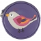 Harness Bird Applique Circular Leather Coin Purse