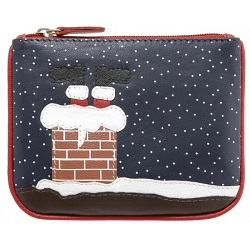 Harness Christmas Roof Applique Scene Leather Coin Purse