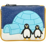 Harness Penguin Zip Top Applique Leather Coin Purse