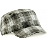 Beechfield Grey Plaid Army Style Fashion Baseball Cap