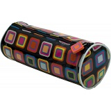 Kubi Kaleidoscope Retro Squares Fashion Cylinder PVC Pencil Case