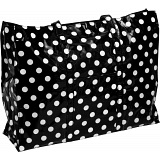 Lindy Lou Polka Dots PVC Showerproof Shoulder Bag / Shopping Tote Bag Black