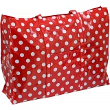 Lindy Lou Polka Dots PVC Showerproof Shoulder Bag / Shopping Tote Bag Red