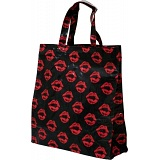 Lindy Lou Lips Kiss Black PVC Shopping Tote Bag / Shopper