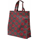Lindy Lou Lips Kiss Grey PVC Shopping Tote Bag / Shopper