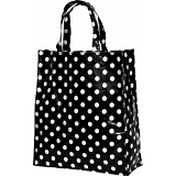 Lindy Lou Black and White Polka Dot PVC Shopping Tote Bag / Shopper