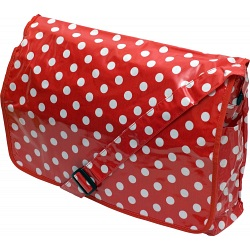 Lindy Lou Red and White Polka Dot PVC Messenger Bag / Flapover Bag