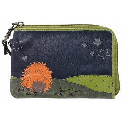 Lyla and Tilly Hedgehog and Stars Applique Leather Wrist Purse