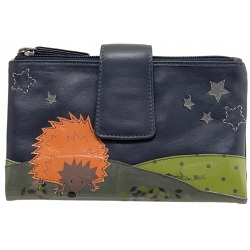 Lyla and Tilly Hedgehog and Stars Applique Leather Purse