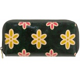 Lyla and Tilly Hand Painted Zip Round Leather Purse (Green)
