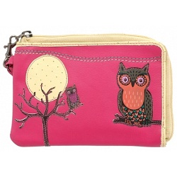 Lyla and Tilly Owl and Moon Applique Leather Wrist Purse