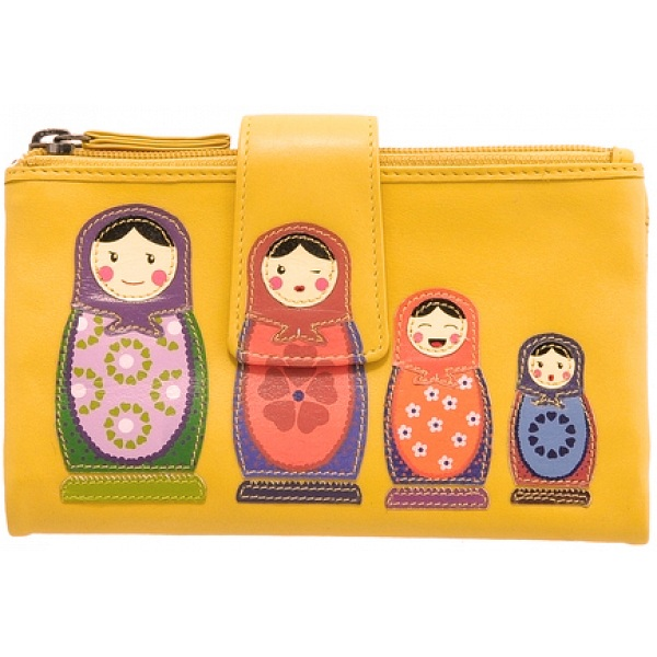 5d2b139ebe ... Lyla and Tilly Russian Doll Applique Leather Purse