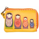 Lyla and Tilly Russian Doll Applique Leather Wrist Purse