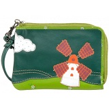 Lyla and Tilly Windmill Applique Leather Wrist Purse