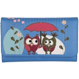 Mala Leather Bluebell Owls Large Flap Over Purse