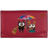 Mala Leather Bluebell Owls Flap Over Leather Purse