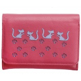 Mala Leather Poppy Cat Medium Flap Over Leather Purse