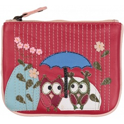 Mala Leather Bluebell Owls Coin Purse