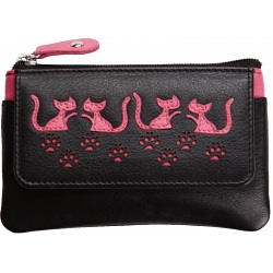 Mala Leather Poppy Cat Leather Coin Purse