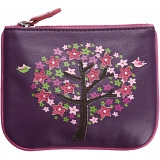 Mala Leather Lotus Zip Top Leather Coin Purse