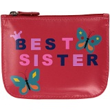 Mala Leather Pinky Best Sister Leather Zip Top Coin Purse