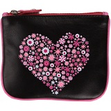 Mala Leather Pinky Heart Leather Zip Top Coin Purse