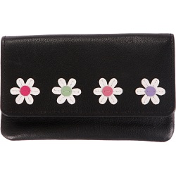 Mala Leather Caja - Small Flower Applique Tri Section Purse