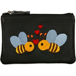 Mala Leather Pinky Purse - Two Bee's In Love with Hearts Coin Purse