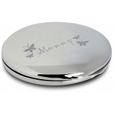 PMC Round Compact Makeup Handbag Mirror Engraved with Mummy