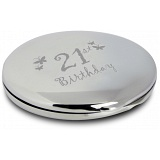 PMC Compact Makeup Handbag Mirror Engraved with 21st Birthday