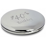 PMC Compact Makeup Handbag Mirror Engraved with 40th Birthday