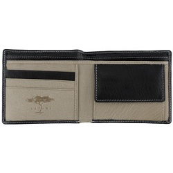 Safari Two Fold Leather Notecase / Wallet with Coin Pocket