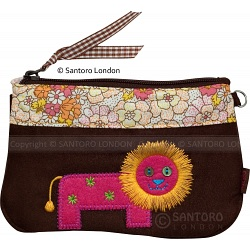 Santoro London Cotton Zoo Lion Clutch Bag / Wristlet Bag