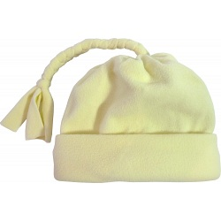 Spotty Dog Pastel Yellow Baby Fleece Tassel Bobble Hat / Winter Beanie Cap