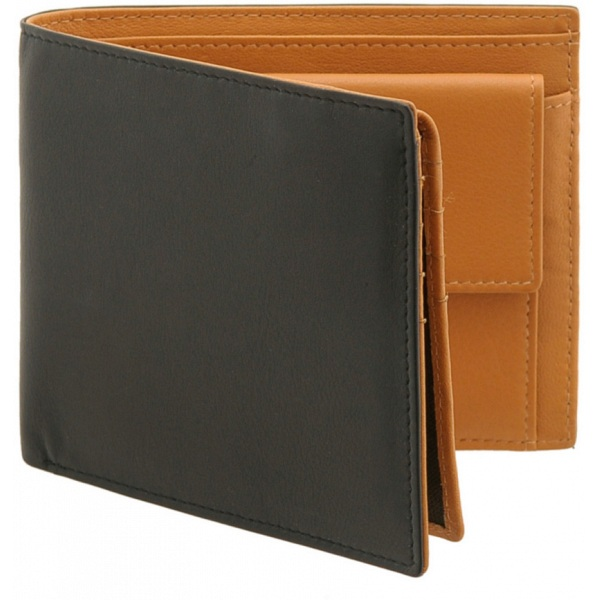 Tumble Amp Hide Black Amp Tan Two Fold Leather Wallet