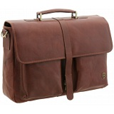Tumble &amp; Hide Flap Over Leather Briefcase / Laptop Bag