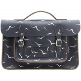 Yoshi Belforte Bird Print Satchel / Large Leather Work Bag