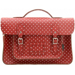 Yoshi Belforte Red Polka Satchel / Large Leather Work Bag