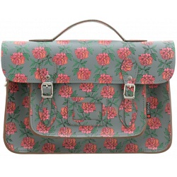 Yoshi Belforte Rose Print Satchel / Large Leather Work Bag