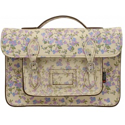 Yoshi Belforte Satchel / Large Leather Work Bag (Cream Floral)