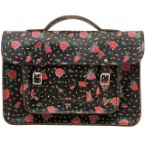 Yoshi Belforte Satchel / Large Leather Work Bag (Black Roses)