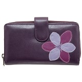Yoshi Bellerose Flower Applique Leather Zip Round Purse